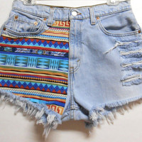 Vintage Levis High Waist   Denim Shorts Tribal Print  Waist  29.5    inches