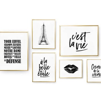 SET of 6 Prints, French Wall Art, Home Decor, French Set Prints, Bedroom Decor, Lips Poster, Real Gold Foil Print, Typography Wall Art