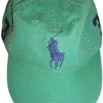 LMFON Men's Polo by Ralph Lauren Hat Ball Cap Field Green with Big Navy Pony