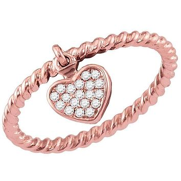 14kt Rose Gold Women's Round Diamond Heart Dangle Stackable Band Ring 1/10 Cttw - FREE Shipping (US/CAN)
