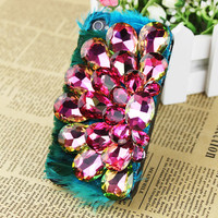 peacock flaunting its tail  Custom Handmade Bling Pink Rhinestone Jewels iPhone cases Unique iPhone 4Case iPhone 5 Case iPhone 4S Case