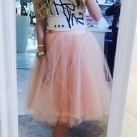 Happily Ever After Pink Tulle Layered Tiered Pleated Flare A Line Ballerina Midi Skirt