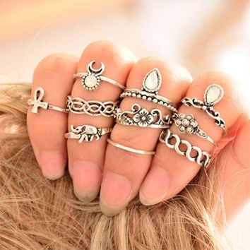 vintage boho 10 piece ring set gift box  number 1