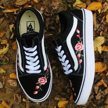 One-nice™ Vans Rose Embroidery Canvas Old Skool Flats Sneakers Sport Shoes I