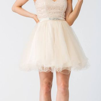 Starbox USA S6177 Lace Up Back Strapless Homecoming Dress Champagne