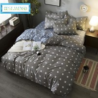 BEST.WENSD Hot High-quality plaid housse de couette comforter bedding set king queen size bed cover+flat bed linen+pillow cover