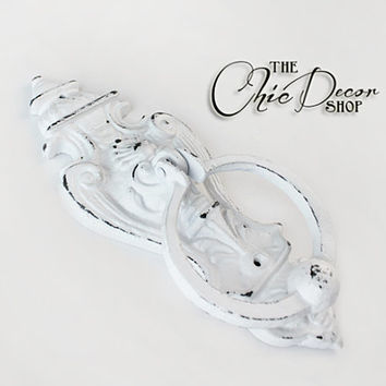 Victorian Door Knocker, Distressed White, Large, Cast Iron