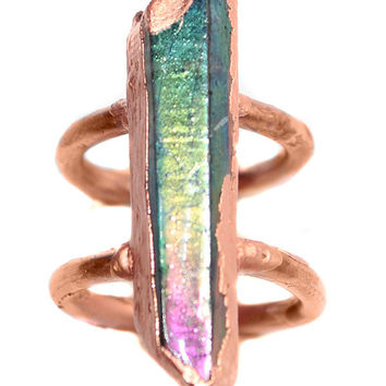 Aqua Aura Rainbow Electroformed Copper Statement Ring