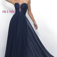 Long Chiffon Lace-Bodice Prom Dress by Blush