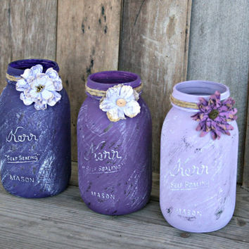 Home and Wedding Decor - Distressed Mason Jar, Vase or Organization - Purple, Lavender, Lilac