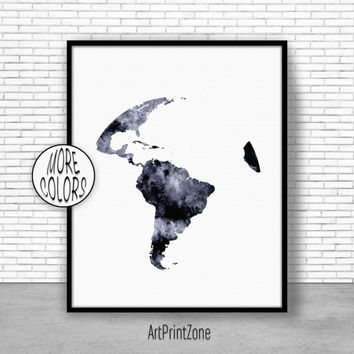 South America Map, South America Print, Globe Art, Globe Print, World Map Poster, World Map Wall Art, World Map Print, World Map Decor