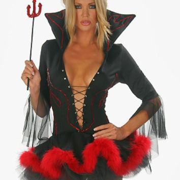 Black Deep V-Neck Mini Dress Devil Costume