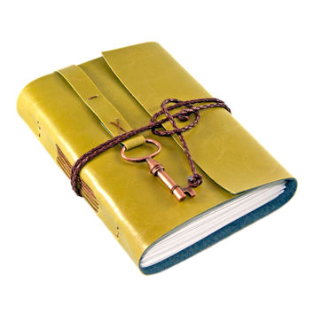 Kiwi Faux Leather Journal with Blank Paper - Key Bookmark - Ready to Ship - Vegan