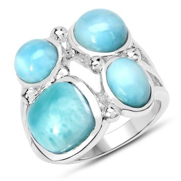 LoveHuang 5.72 Carats Genuine Larimar Bubble Ring Solid .925 Sterling Silver With Rhodium Plating
