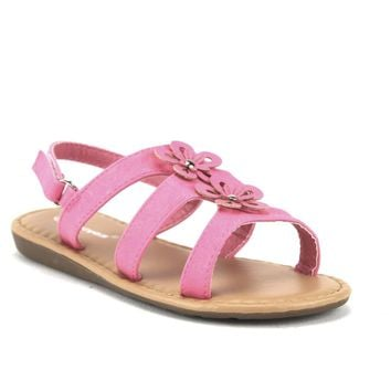 Toddlers Girls Ositos Ankle Strap Gladiator Floral Sandals SEZ-07I Fuchsia