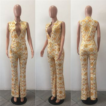 Gold and White Retro Jumpsuit