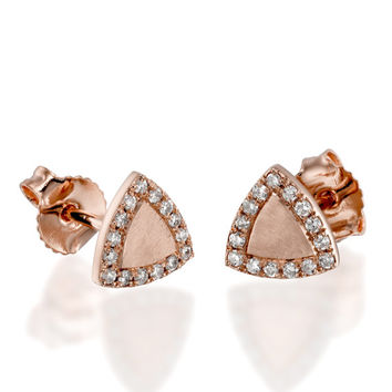 Triangle Diamond Earrings | 14K Solid Gold,Gold Earrings,Stud Earrings,Triangle,Triangle Earrings,Diamond Jewelry,Rose Gold Earrings,Rose