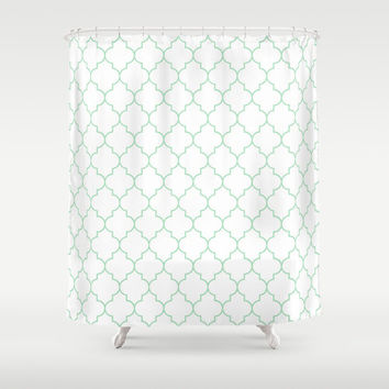 Shower Curtain - Mint - Green Quatrefoil - Dorm Shower Curtain - Teen Room Decor - Girls Bathroom - Mint - Green Quatrefoil Shower Curtain