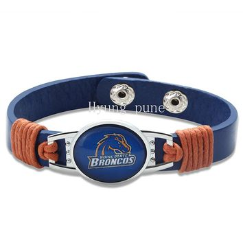 6pcs/lot! Boise State Broncos Adjustable Genuine Leather Bracelet for Men Women Fashion Snap Button Charm Leather Cuff Jewelry
