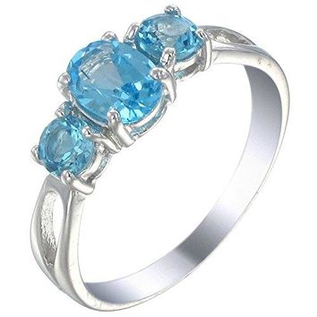 Sterling Silver 3 Stone Swiss Blue Topaz Ring 120 CT