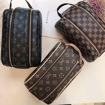 LV Louis Vuitton Fashionable Women Canvas Leather Handbag Tote Cosmetic Bag