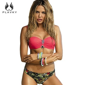 PLAVKY 2018 Sexy Lady Army Camouflage Emblem Bandeau Biquini Swim Beach Wear Bathing Suit Swimsuit Swimwear Women Push Up Bikini