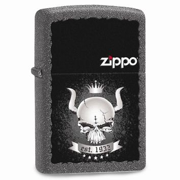 Zippo Skull Crown Iron Stone Lighter
