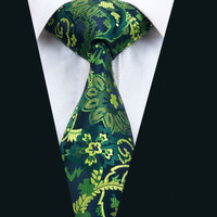 New Arrival Bar Fashion Men`s Tie Green Floral NeckTie Silk Jacquard Ties For Men Business Wedding Party