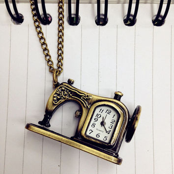Splendid Hot Fashion Retro Antique Bronze Alloy Sewing Machines Pendant Pocket Watch Christmas Gift