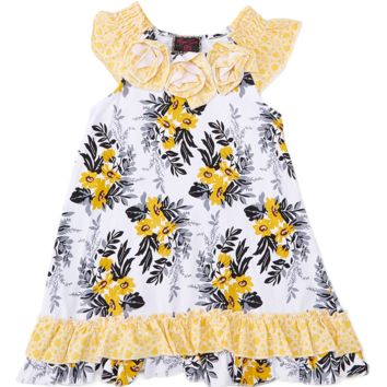 Yellow Floral Rosette Dress
