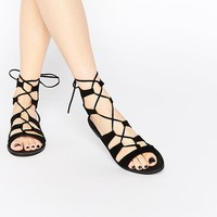 New Look Lace Up Flat Sandal at asos.com