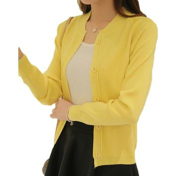 PEONFLY Candy Color Cardigan Women Sweater Long Sleeve Knitted Cardigan Female Pink/Yellow Knit Coats Spring Summer 2018 New