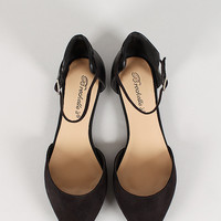 Breckelle Faux Suede Pointy Toe Ankle Strap Flat