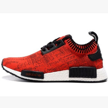 "Women ""Adidas"" NMD Boost Casual Sports Shoes Red black lace up"