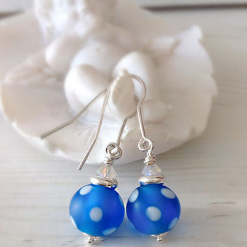 Polka dot earrings, blue and white earrings, sterling silver,