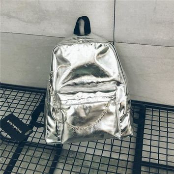 University College Backpack famous Brand Fashion Hologram Laser  Silver Women PU Leather Holographic   Girls School Bag MochilaAT_63_4