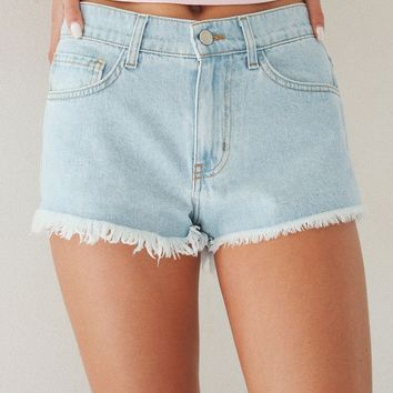 High Rise Denim Shorts - Light Wash