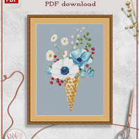 Ice cream cross stitch chart, Ice cream cone cross stitch, Flowers cross stitch, Dessert cross stitch PDF, Summer cross stitch pattern PDF