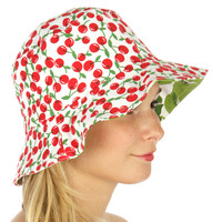 Lovely Retro Mod Fruit Love Pear and Cherry Reversible Bucket Hat