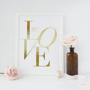 Love Poster, Every love story is beautiful Print, Love Quote, Love Print, Typography Poster, Minimalist Poster, Home Art, Bedroom Print,