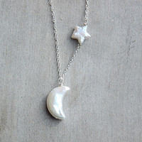 Moon/Star, Pearl Necklace, Natural Pearl. Freshwater Pearl, Constellation, Sky, Night, Gift