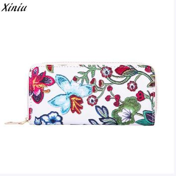 2018 Women wallets long wallets Casual Floral Printing designer purses luxury brand wallets Card holder carteira feminina