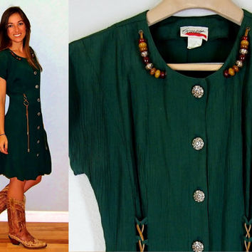 Vintage Hunter Green Southwestern Dress with Leather Lariat Ties, Engraved Silver Buttons, and Beaded Necklace, Size Medium/Large