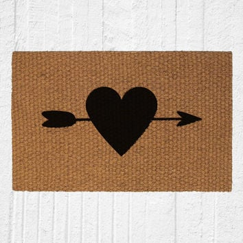 Heart and Arrow Doormat | Welcome Mat | Home Decor | Valentine's Day Decor | Love Door Mat | Cocomat | Welcome Rug | Wedding Gift