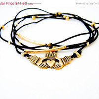 Cyber Monday Sale Claddagh Bracelet (Gold and Black)