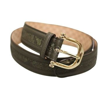 Gucci Women's Green Python Leather Metal Buckle Belt 245885 3216