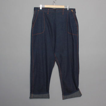 50s ROCKABILLY JEANS / NOS Side Zip Denim Pants, Deadstock, Rare xl