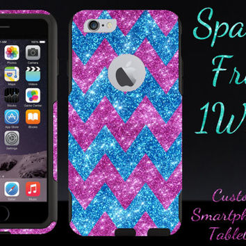 "iPhone 6/6 Plus OTTERBOX Case - Otterbox Commuter Glitter Case for 4.7"" iPhone 6/6 Plus - Raspberry/Peacock/Pink Large Chevron Girly Case"