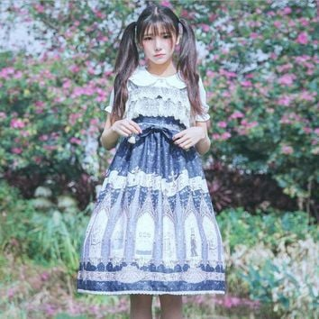 2018 Japanese style lolita cuty Bowknot soft sister lace dress high waist spaghetti strap printed dress wj268