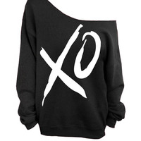 XO - Valentines Day - Black Slouchy Oversized Sweatshirt